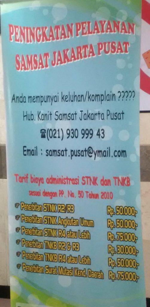 Banner informasi laporan untuk Samsat Jakarta Pusat