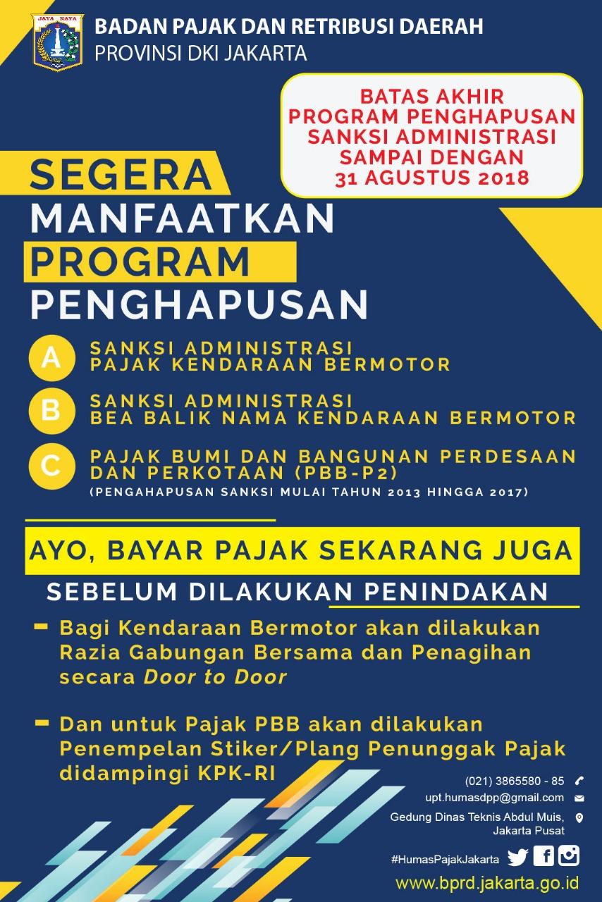 Ingat Bebas Sanksi Sampai 31 Agustus 2018!
