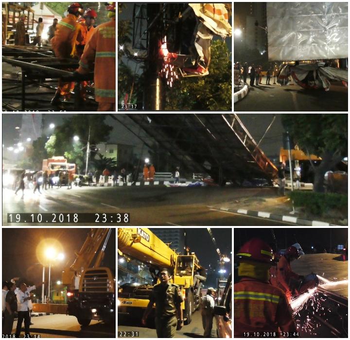 Pembongkaran Konstruksi Reklame Di Jl. H.R. Rasuna Said Jakarta Selatan Menggunakan Kendaraan Alat Berat